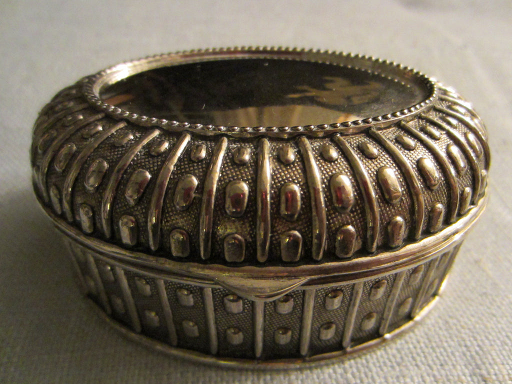Pewter Jewelry Box Art Deco Oval Design Textile Lined - Designer Unique Finds