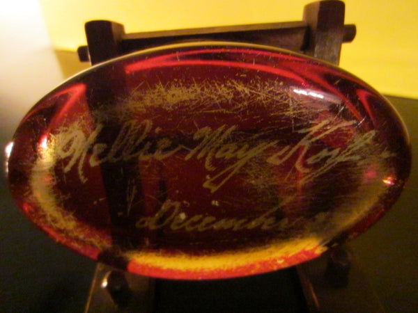 Glass Oval Paperweight Inscribed In Etch Dated 1906 - Designer Unique Finds   - 2