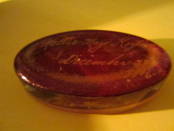 Glass Oval Paperweight Inscribed In Etch Dated 1906 - Designer Unique Finds   - 4