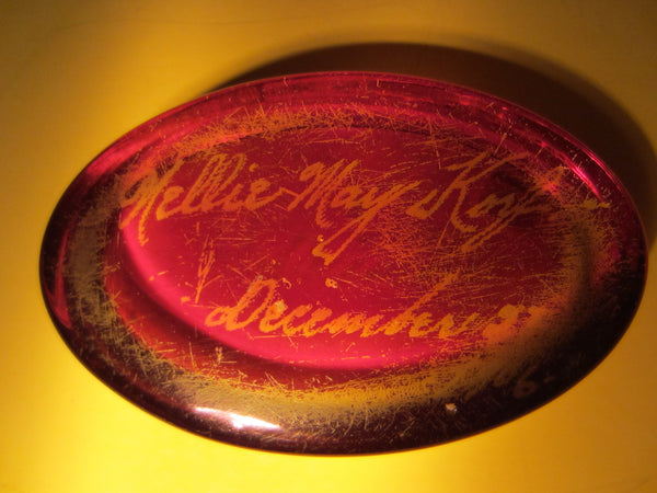 Glass Oval Paperweight Inscribed In Etch Dated 1906 - Designer Unique Finds