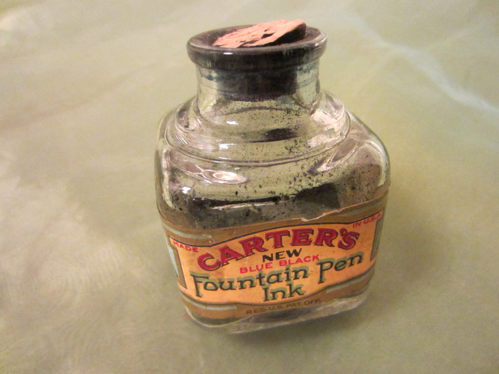 Art Deco Carters New Blue Black Fountain Pen Glass Ink Bottle Cork Cap