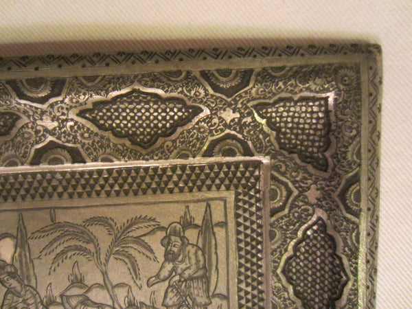 Persian Silver Tray With Signature Chasing Etched Hunting Scene - Designer Unique Finds   - 4