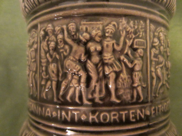 Germany Majolica Ceramic Cracker Covered Jar Descriptive Figurative Signed - Designer Unique Finds