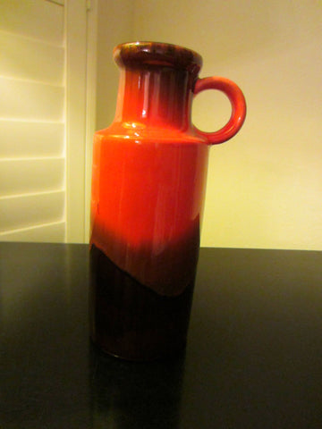West Germany Red Ceramic Lava Jug Scheurich Attributed - Designer Unique Finds