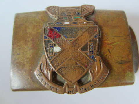 Brass Belt Buckle First of Dickshore England Coat Of Arm Enameled - Designer Unique Finds