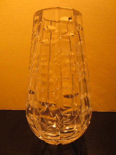 Waterford Crystal Vase Hand Cut Geometric Signed - Designer Unique Finds