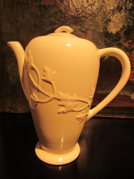 California Ironstone Teapot By Brock Floral Relief - Designer Unique Finds   - 3