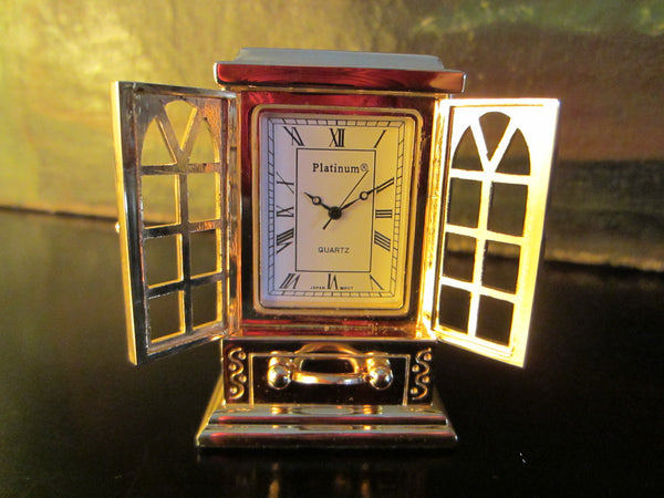 Platinum Miniature Brass Armoire Quartz Clock Japan Movement - Designer Unique Finds