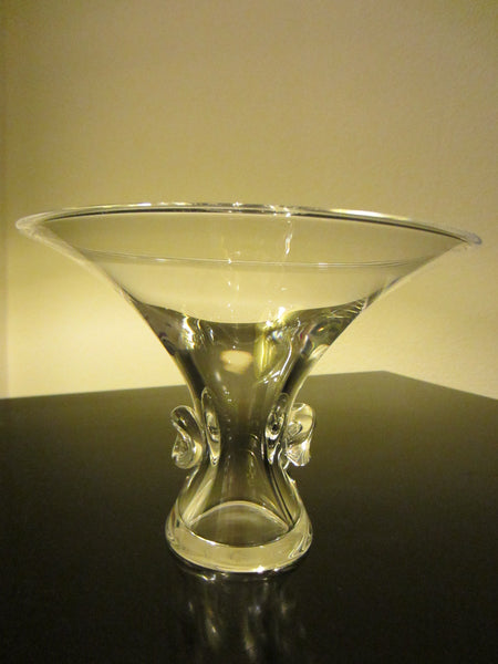 Steuben Stem Crystal Signed Bouquet Vase or Candy Dish - Designer Unique Finds