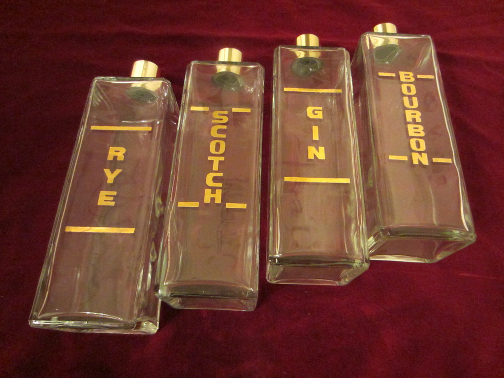 Liquor Glass Flasks Mid Century Leather Carry On Case - Designer Unique Finds   - 1