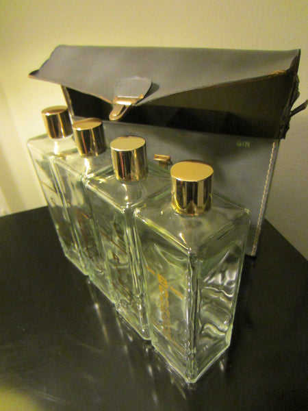 Liquor Glass Flasks Mid Century Leather Carry On Case - Designer Unique Finds   - 2