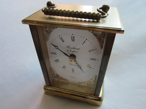 Brass Carriage Clock Breckland England Musical ChimeQuartz - Designer Unique Finds   - 1