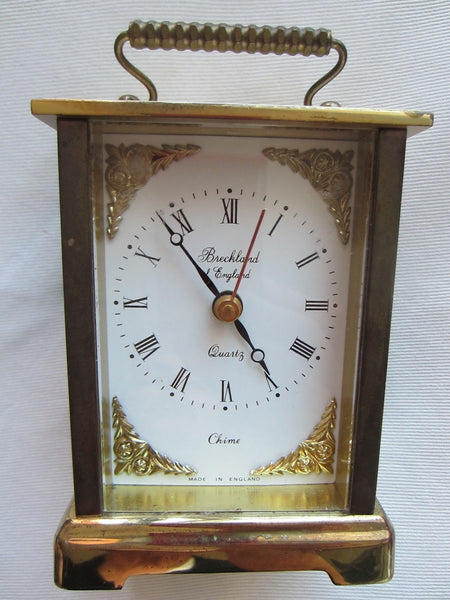 Brass Carriage Clock Breckland England Musical ChimeQuartz - Designer Unique Finds   - 3