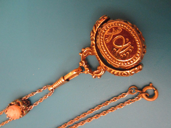 Golden Sliding Chain Necklace Fob Cameo Seal Pendant - Designer Unique Finds
