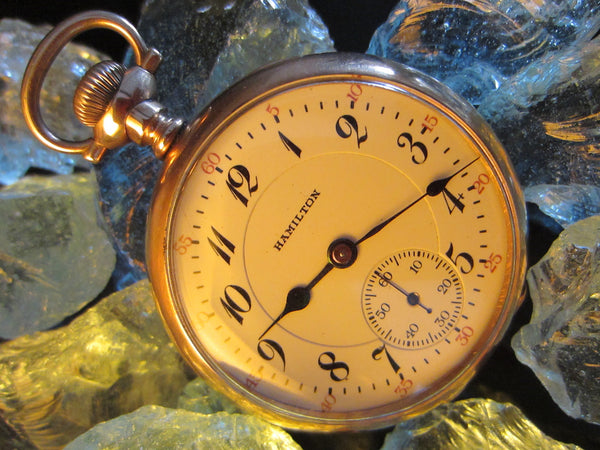 Hamilton Pocket Watch Open Face Gold Plated Case - Designer Unique Finds