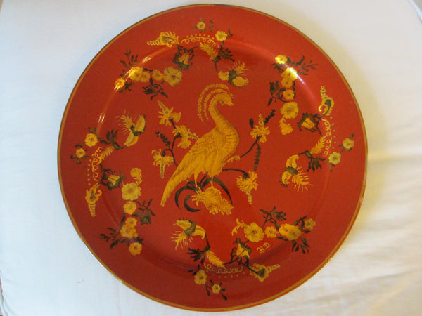 Tole Red Tray Monogram Gold Painted Round Signed Decorated Bird Flowers - Designer Unique Finds   - 1