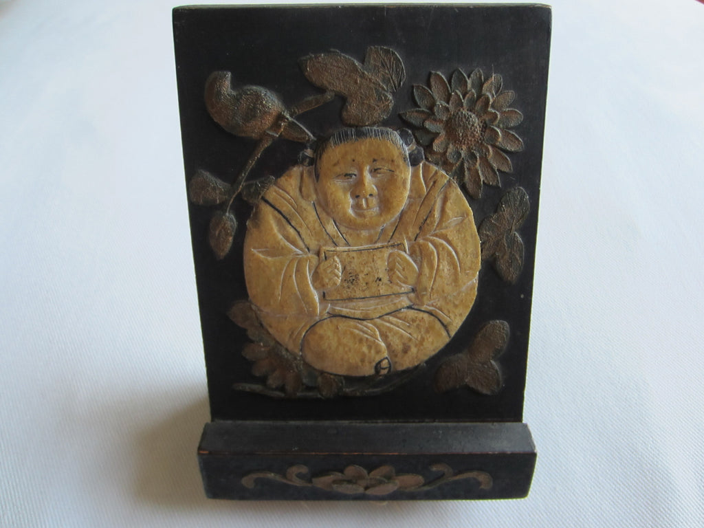 Chinese Stone Buddha Icon Wood Carving Floral Decoration - Designer Unique Finds   - 1