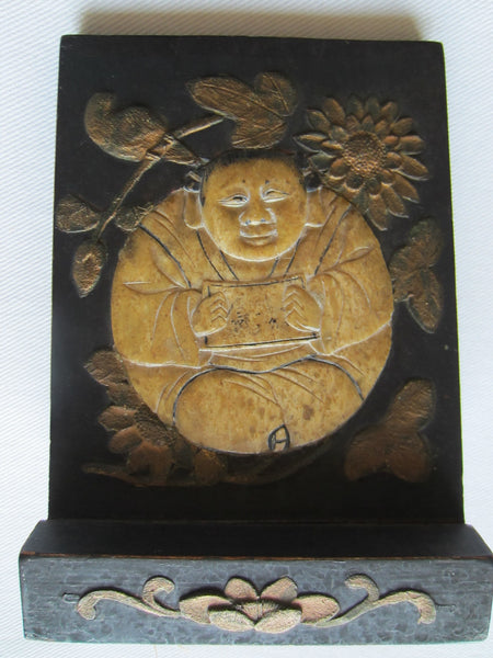 Chinese Stone Buddha Icon Wood Carving Floral Decoration - Designer Unique Finds   - 3