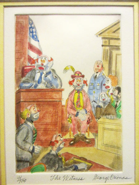 George Crionas The Witness Signed Impressionist Court Scene Lithograph - Designer Unique Finds   - 1