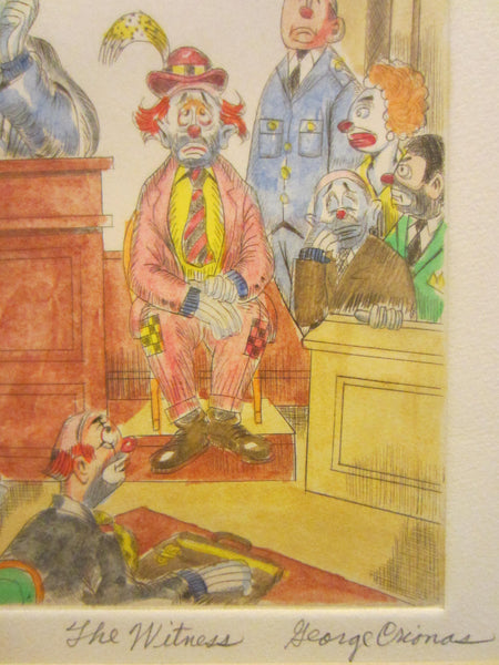 George Crionas The Witness Signed Impressionist Court Scene Lithograph - Designer Unique Finds   - 3