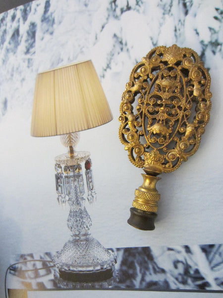 Bronze Rococo Ormolu Filigree Lamp Finial Deocrated Openwork - Designer Unique Finds   - 2