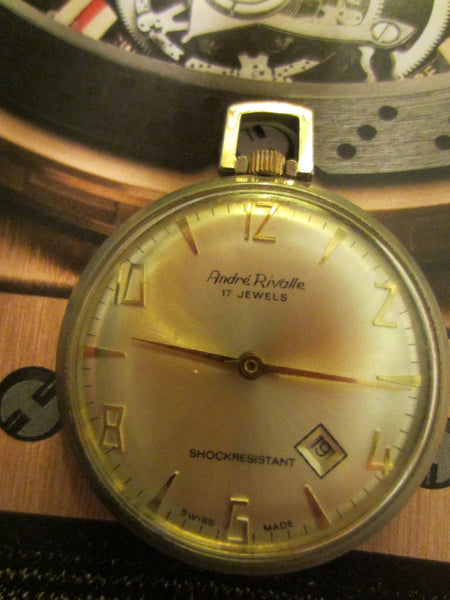 Andre Rivalle Mid Century Hand Winding Swiss Pocket Watch - Designer Unique Finds   - 4