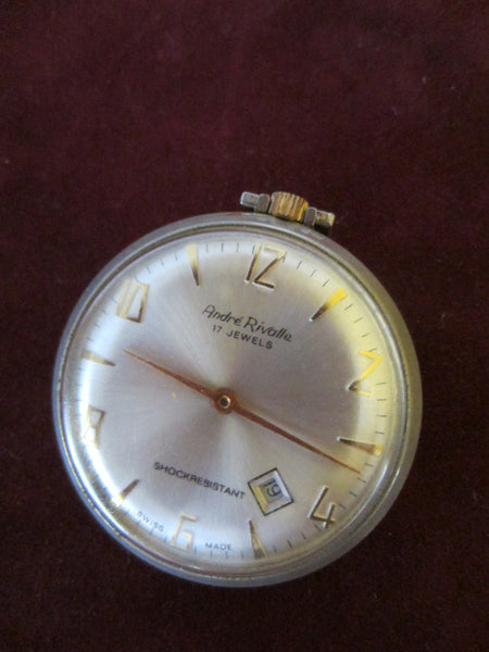Andre Rivalle Mid Century Hand Winding Swiss Pocket Watch - Designer Unique Finds   - 3