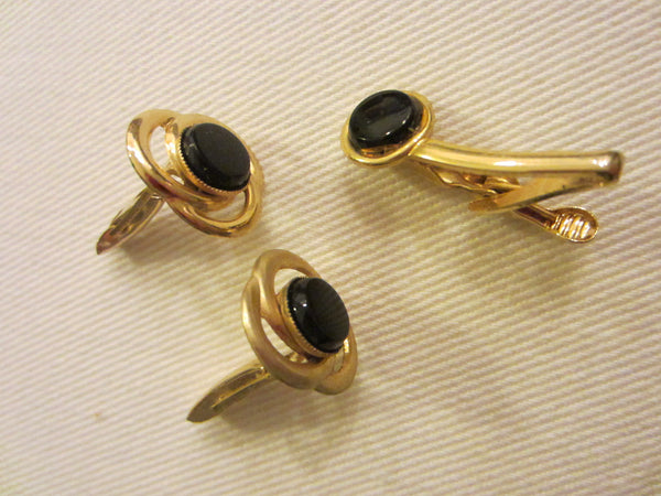 Golden Cuff Links Tie Clip Onyx Set - Designer Unique Finds