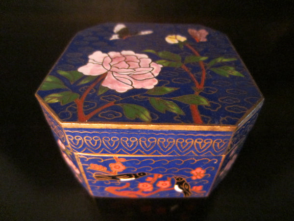 Asian Cloisonne Blue Hexagon Trinket Box Flower Bird Enameling - Designer Unique Finds   - 2