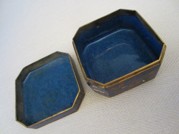 Asian Cloisonne Blue Hexagon Trinket Box Flower Bird Enameling - Designer Unique Finds   - 4