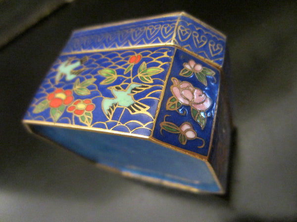 Asian Cloisonne Blue Hexagon Trinket Box Flower Bird Enameling - Designer Unique Finds   - 3