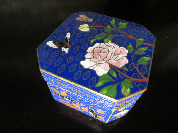 Asian Cloisonne Blue Hexagon Trinket Box Flower Bird Enameling - Designer Unique Finds   - 1
