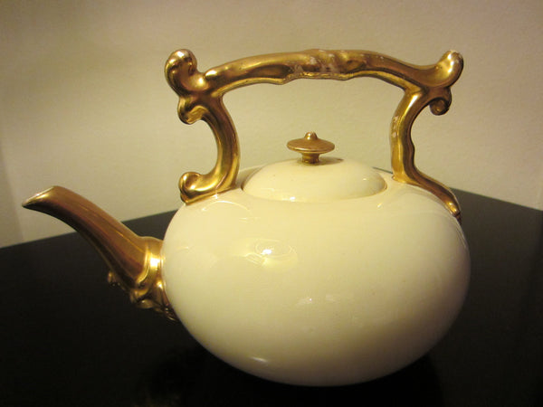 Coalport Teapot White Porcelain Gilt Decoration England - Designer Unique Finds   - 1
