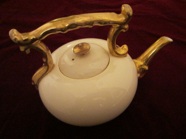 Coalport Teapot White Porcelain Gilt Decoration England - Designer Unique Finds   - 3