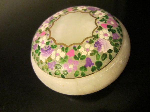 Italy Rossi Volterra Alabaster Box Hand Carved Flower Decoration - Designer Unique Finds