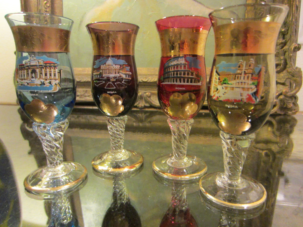 Italy Cordial Liquor Glass Collection City View Hand Color Stemware - Designer Unique Finds