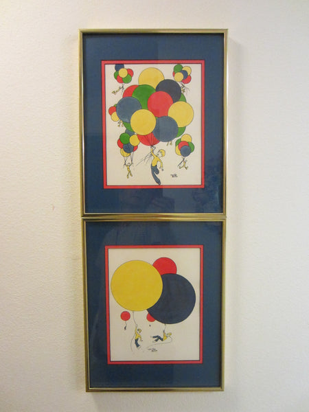 Tom Pye Impressionist Watercolors Colored Balloons Artist Proof - Designer Unique Finds