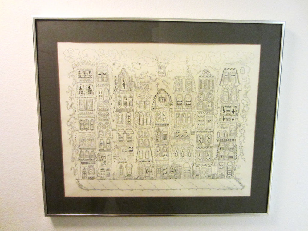 Architectural Town Birds Eye View Signature Lithograph By Susan