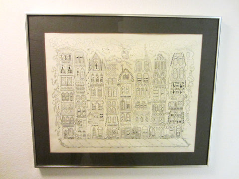 Architectural Town Birds Eye View Contemporary Signature Lithograph By Susan