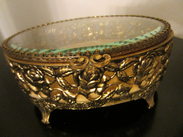 Rose Decorated Jewelry Box Oval Filigree Beveled Glass Velvet Lined - Designer Unique Finds   - 1