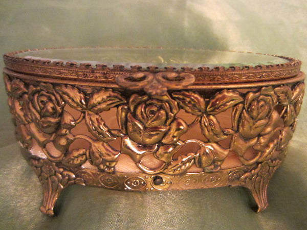 Rose Decorated Jewelry Box Oval Filigree Beveled Glass Velvet Lined - Designer Unique Finds   - 3