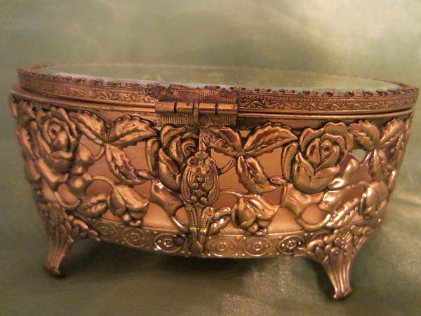 Rose Decorated Jewelry Box Oval Filigree Beveled Glass Velvet Lined - Designer Unique Finds   - 5