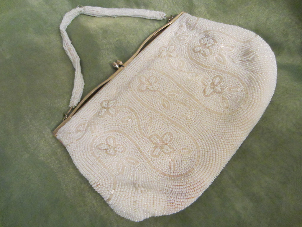 Beaded Evening Bag Mother of Pearl Brass Closure Exclusive Broadway Japan - Designer Unique Finds