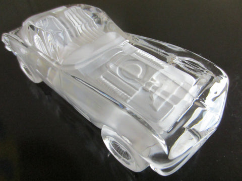 West Germany Hof Bauer Crystal Convertible Car Signed Paperweight - Designer Unique Finds