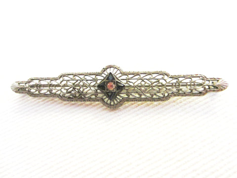 Art Deco Filigree Silver Bar Brooch Openwork Center Sapphires - Designer Unique Finds   - 3