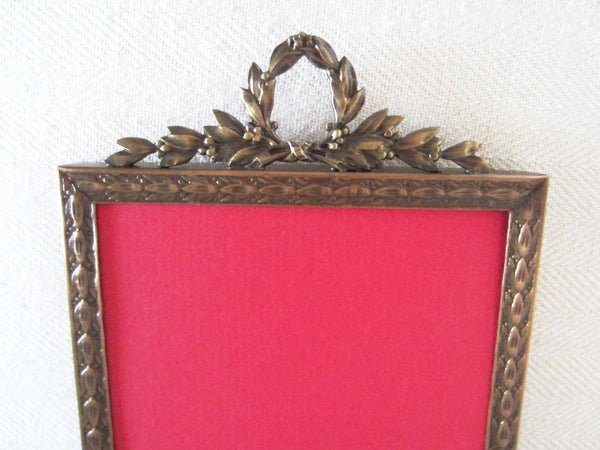 Brass Picture Frame Art Deco Decorated Crest Crowning - Designer Unique Finds   - 1