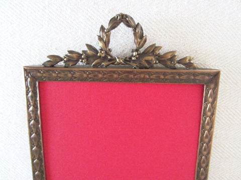 Art Deco Brass Picture Frame Decorated Crest Crowning - Designer Unique Finds