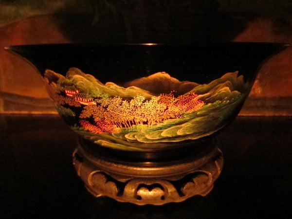 Chinoiserie Chinese Black Lacquered Scenic Golden Bowl Hand Painted Koi Fish - Designer Unique Finds   - 3