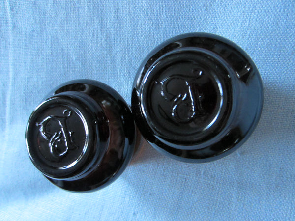 Contemporary Pair Dark Glass Amber Votive Candle Holders With Monograms - Designer Unique Finds