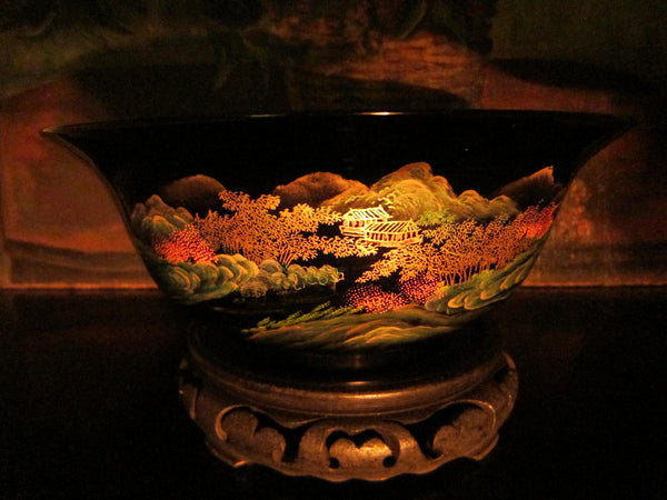 Chinoiserie Chinese Black Lacquered Scenic Golden Bowl Hand Painted Koi Fish - Designer Unique Finds   - 5